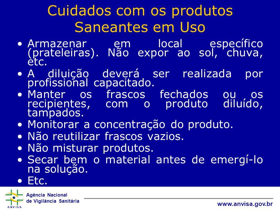 Agência Nacional de Vigilância Sanitária www.anvisa.gov.br Cuidados com os produtos Saneantes em Uso Armazenar em local específico (prateleiras).