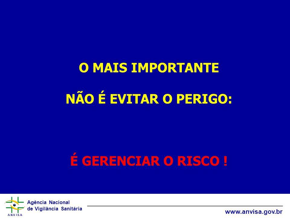 Agência Nacional de Vigilância Sanitária www.anvisa.gov.br O MAIS IMPORTANTE NÃO É EVITAR O PERIGO: É GERENCIAR O RISCO !