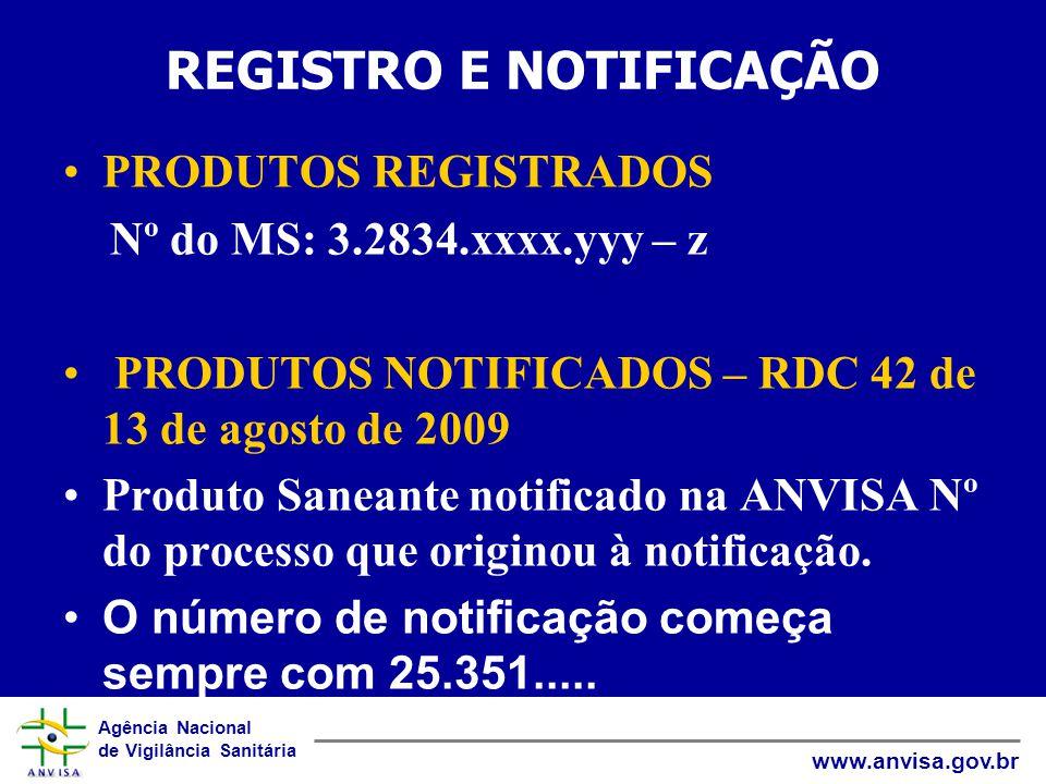 Agência Nacional de Vigilância Sanitária www.anvisa.gov.br REGISTRO E NOTIFICAÇÃO PRODUTOS REGISTRADOS Nº do MS: 3.2834.xxxx.yyy – z PRODUTOS NOTIFICADOS – RDC 42 de 13 de agosto de 2009 Produto Saneante notificado na ANVISA Nº do processo que originou à notificação.