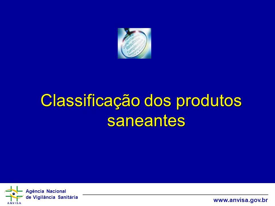 Agência Nacional de Vigilância Sanitária www.anvisa.gov.br Classificação dos produtos saneantes QUANTO AO RISCO São classificados como: RISCO 1 (notificados) RISCO 2 (registrados)