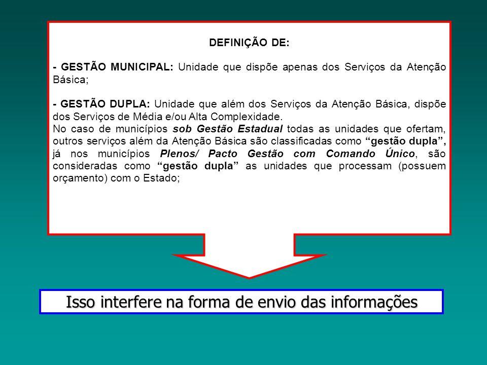 DEFINIÇÃO DE: - GESTÃO MUNICIPAL: Unidade que dispõe apenas dos Serviços da Atenção Básica; - GESTÃO DUPLA: Unidade que além dos Serviços da Atenção B