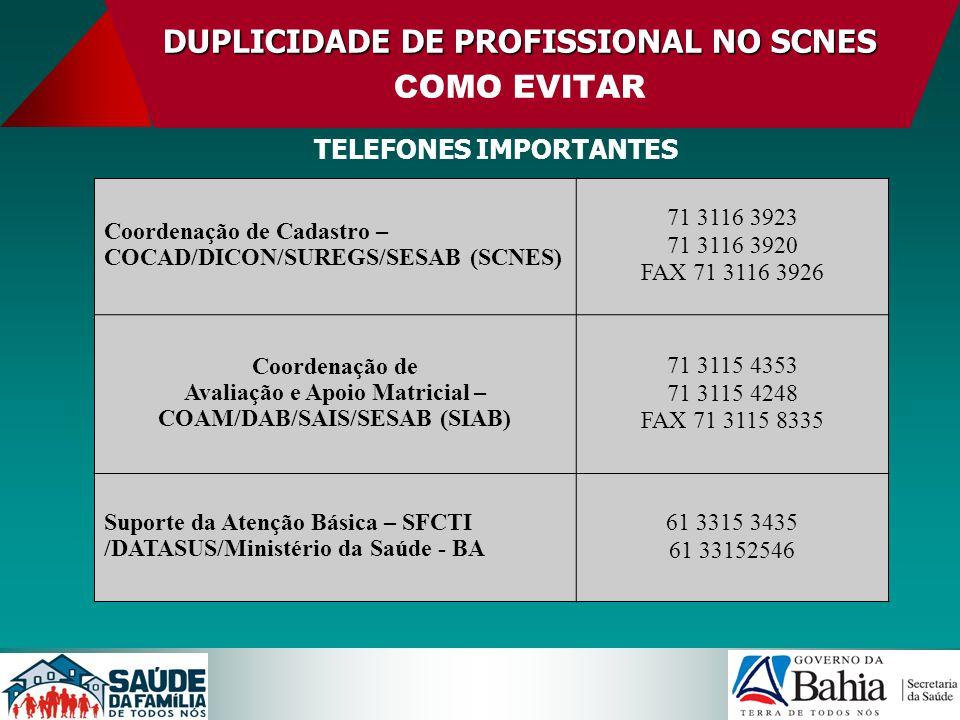 DUPLICIDADEDE PROFISSIONAL NO SCNES DUPLICIDADE DE PROFISSIONAL NO SCNES COMO EVITAR TELEFONES IMPORTANTES Coordenação de Cadastro – COCAD/DICON/SUREG