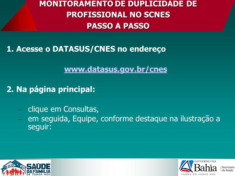 MONITORAMENTO DE DUPLICIDADE DE PROFISSIONAL NO SCNES PASSO A PASSO 1. Acesse o DATASUS/CNES no endereço www.datasus.gov.br/cnes 2. Na página principa