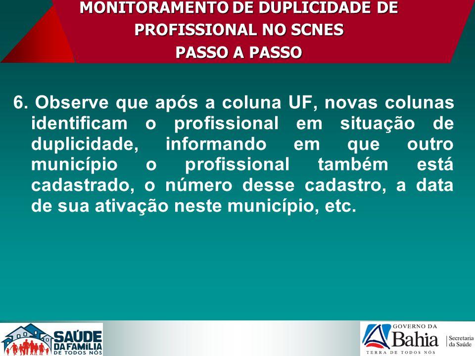 MONITORAMENTO DE DUPLICIDADE DE PROFISSIONAL NO SCNES PASSO A PASSO 6. Observe que após a coluna UF, novas colunas identificam o profissional em situa