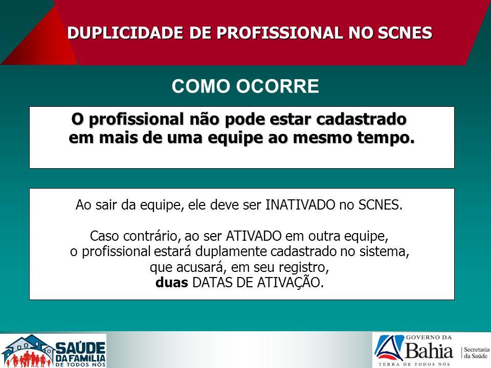 DUPLICIDADEDE PROFISSIONAL NO SCNES DUPLICIDADE DE PROFISSIONAL NO SCNES LEGISLAÇÃO PARA CONSULTA Portaria SAS/MS n° 02, de 03 de janeiro de 2008 Portaria SAS/MS n° 01, de 16 de janeiro de 2009 Cronograma CNES 2009 (COCAD/DICON/SUREGS/SESAB)