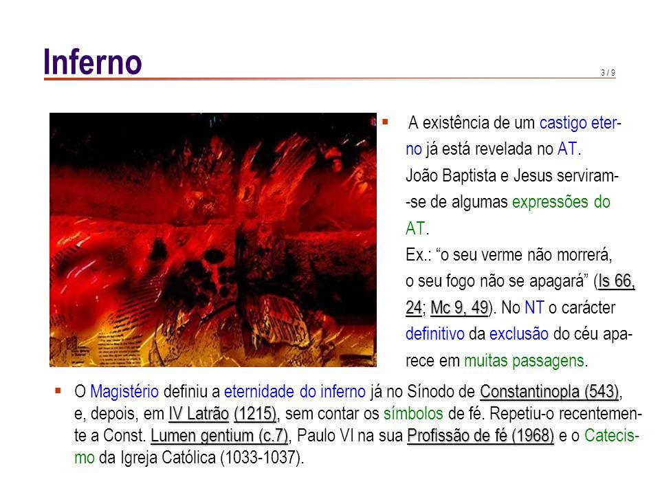 3 / 9 Inferno A existência de um castigo eter- no já está revelada no AT.