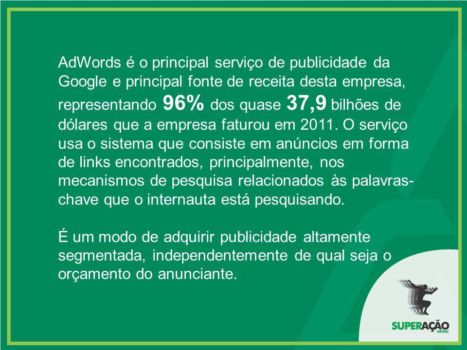 AdWords é o principal serviço de publicidade da Google e principal fonte de receita desta empresa, representando 96% dos quase 37,9 bilhões de dólares