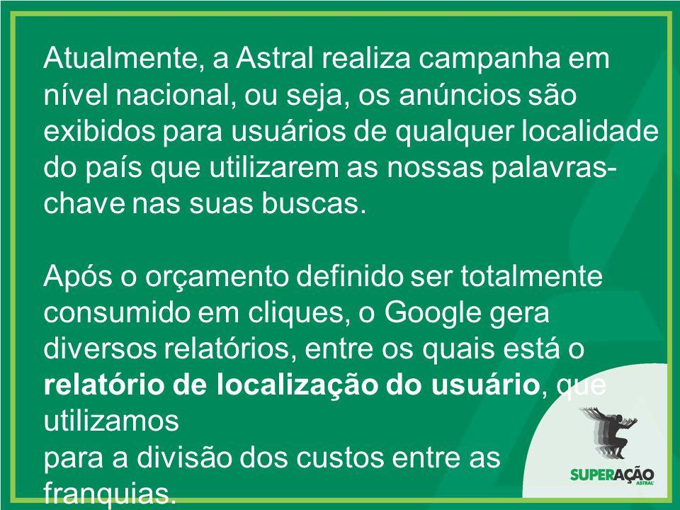 Atualmente, a Astral realiza campanha em nível nacional, ou seja, os anúncios são exibidos para usuários de qualquer localidade do país que utilizarem