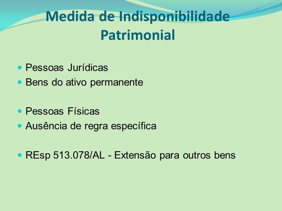 Medida de Indisponibilidade Patrimonial Pessoas Jurídicas Bens do ativo permanente Pessoas Físicas Ausência de regra específica REsp 513.078/AL - Exte