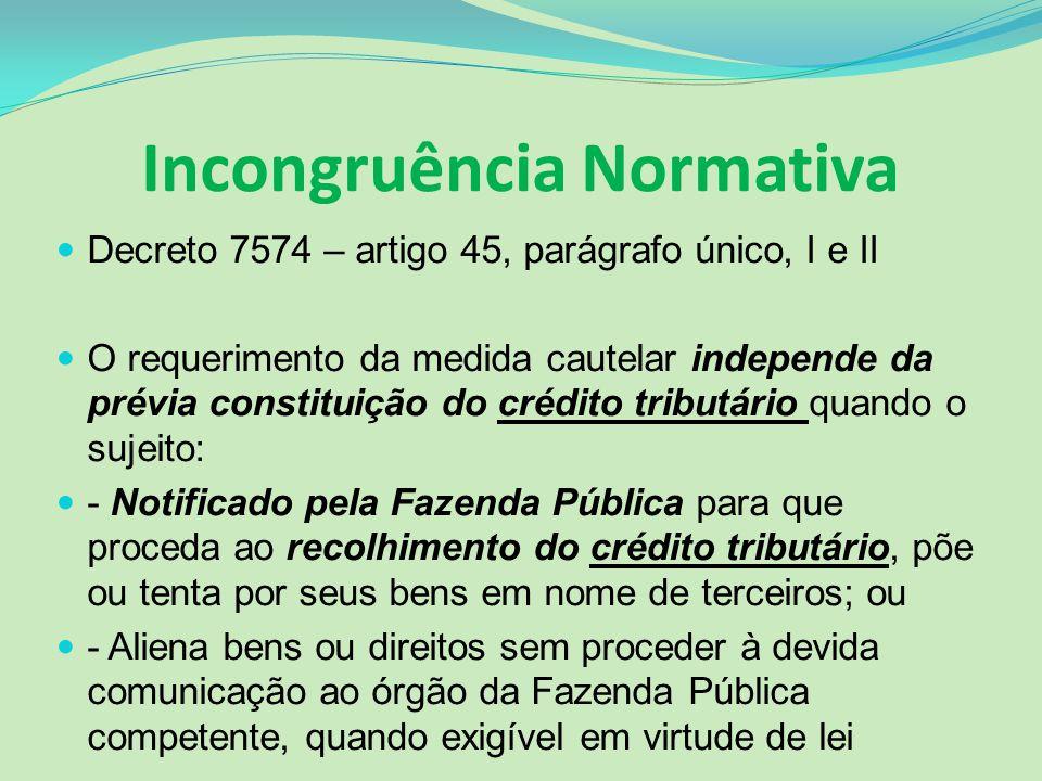 Incongruência Normativa Decreto 7574 – artigo 45, parágrafo único, I e II O requerimento da medida cautelar independe da prévia constituição do crédit