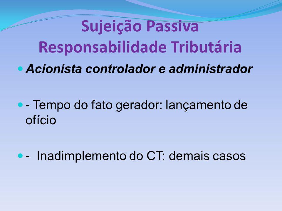 Sujeição Passiva Responsabilidade Tributária Acionista controlador e administrador - Tempo do fato gerador: lançamento de ofício - Inadimplemento do C