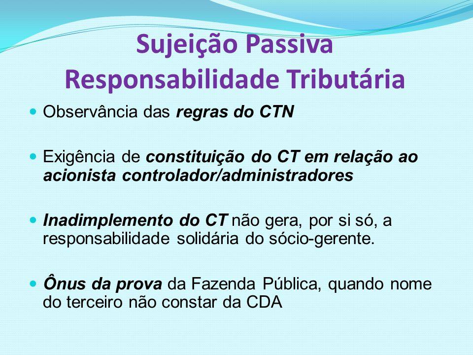 Sujeição Passiva Responsabilidade Tributária Observância das regras do CTN Exigência de constituição do CT em relação ao acionista controlador/adminis