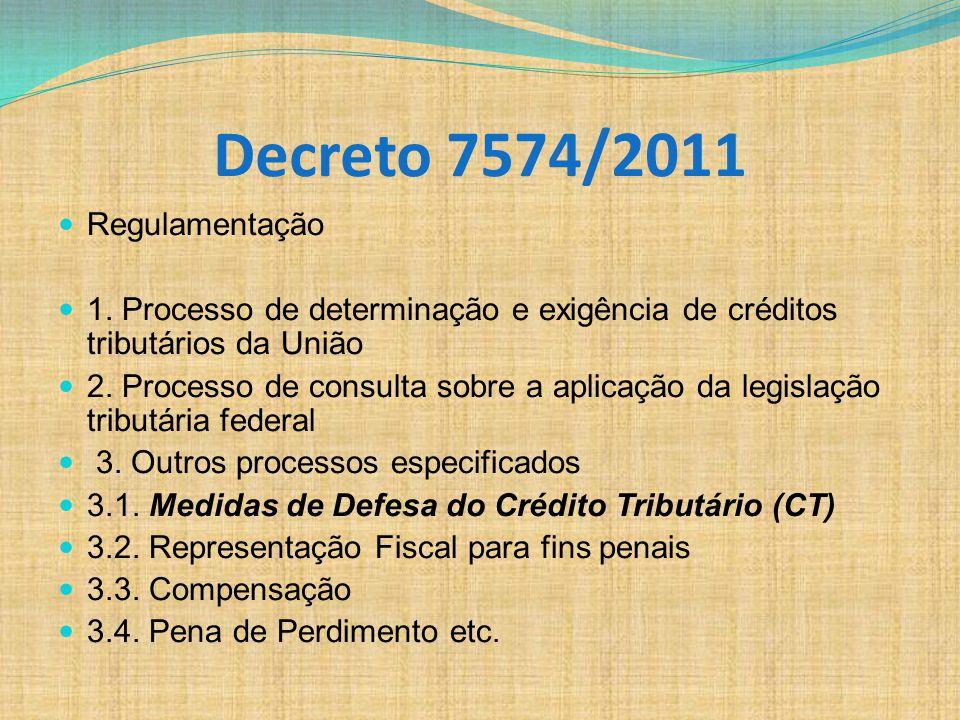 Decreto 7574/2011 Regulamentação 1. Processo de determinação e exigência de créditos tributários da União 2. Processo de consulta sobre a aplicação da