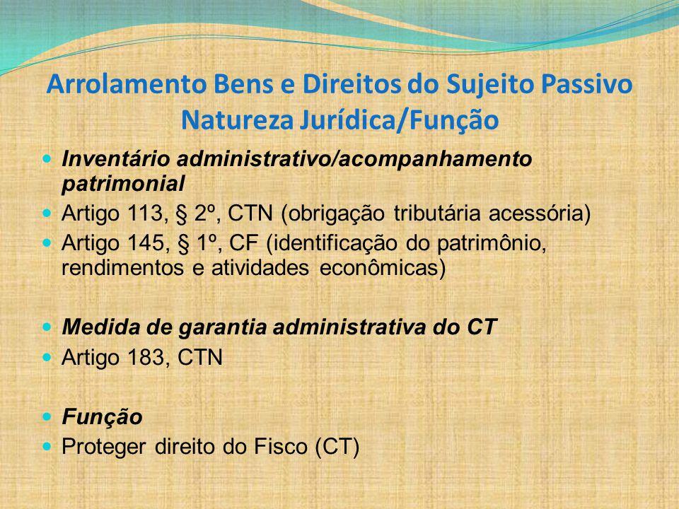 Arrolamento Bens e Direitos do Sujeito Passivo Natureza Jurídica/Função Inventário administrativo/acompanhamento patrimonial Artigo 113, § 2º, CTN (ob