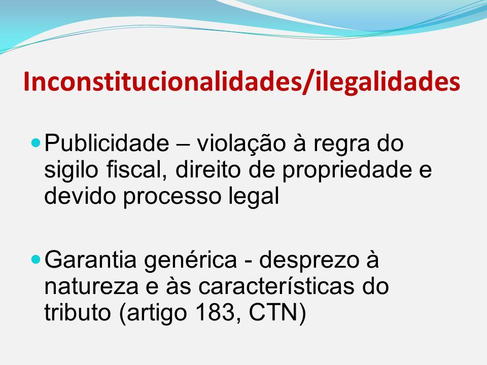 Inconstitucionalidades/ilegalidades Publicidade – violação à regra do sigilo fiscal, direito de propriedade e devido processo legal Garantia genérica