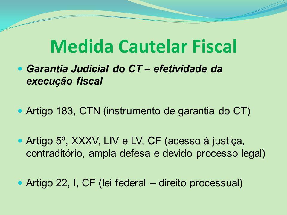 Medida Cautelar Fiscal Garantia Judicial do CT – efetividade da execução fiscal Artigo 183, CTN (instrumento de garantia do CT) Artigo 5º, XXXV, LIV e