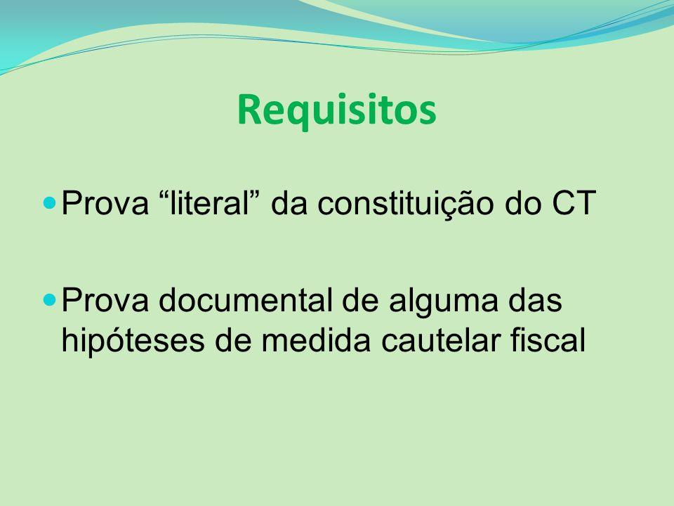 Requisitos Prova literal da constituição do CT Prova documental de alguma das hipóteses de medida cautelar fiscal
