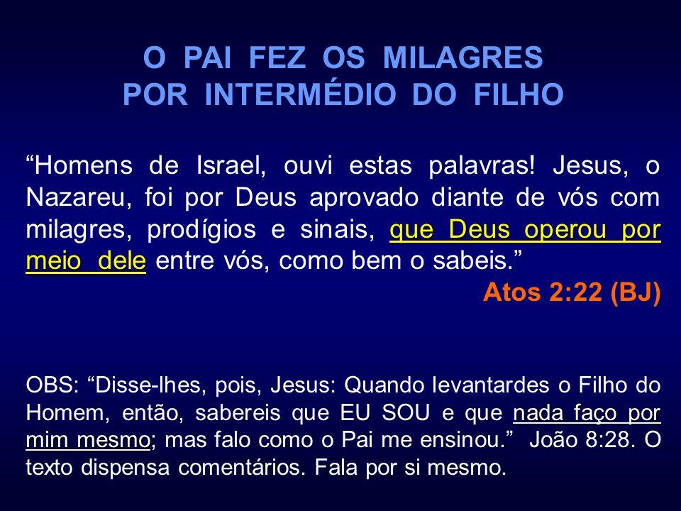 O PAI FEZ OS MILAGRES POR INTERMÉDIO DO FILHO que Deus operou por meio dele Homens de Israel, ouvi estas palavras! Jesus, o Nazareu, foi por Deus apro