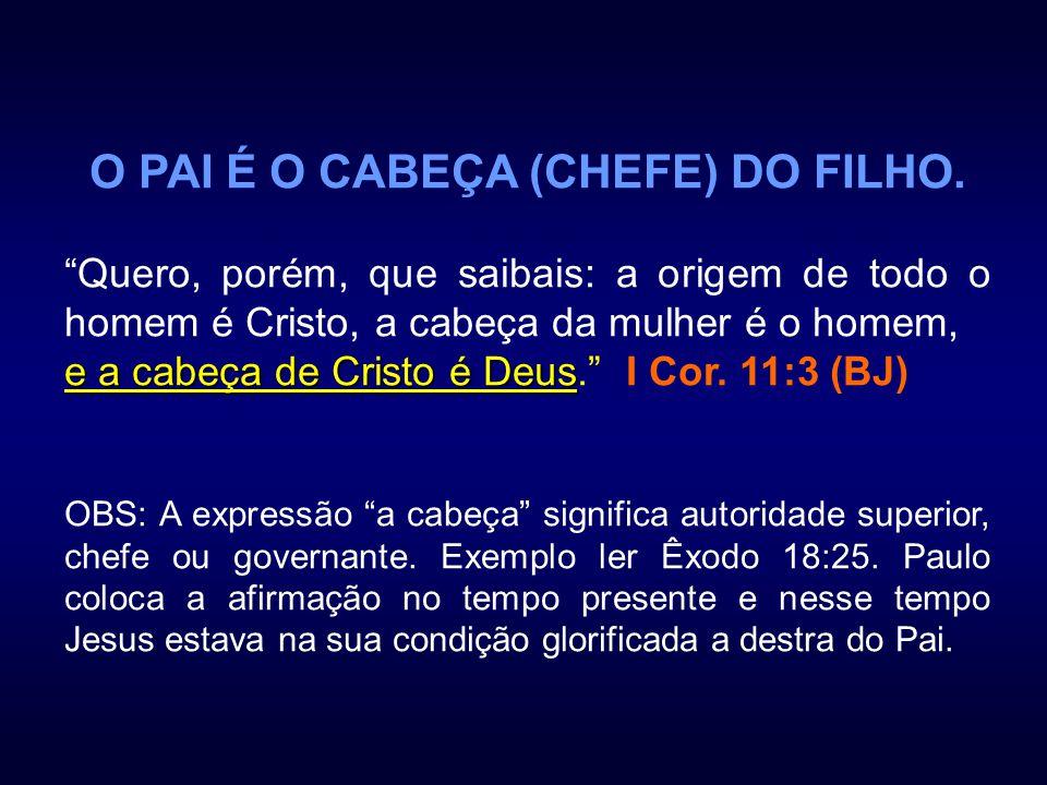 O PAI É O CABEÇA (CHEFE) DO FILHO. Quero, porém, que saibais: a origem de todo o homem é Cristo, a cabeça da mulher é o homem, e a cabeça de Cristo é