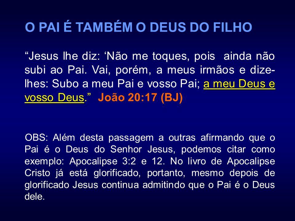 O PAI É TAMBÉM O DEUS DO FILHO a meu Deus e vosso Deus Jesus lhe diz: Não me toques, pois ainda não subi ao Pai. Vai, porém, a meus irmãos e dize- lhe