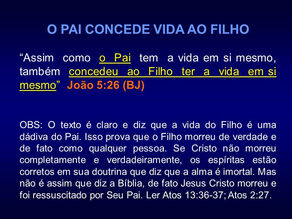 O PAI CONCEDE VIDA AO FILHO o Pai concedeu ao Filho ter a vida em si mesmo Assim como o Pai tem a vida em si mesmo, também concedeu ao Filho ter a vid
