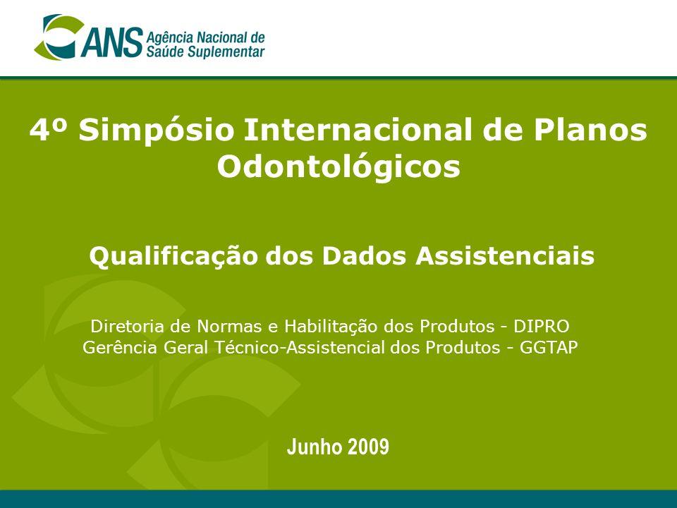 4º Simpósio Internacional de Planos Odontológicos Junho 2009 Diretoria de Normas e Habilitação dos Produtos - DIPRO Gerência Geral Técnico-Assistencia