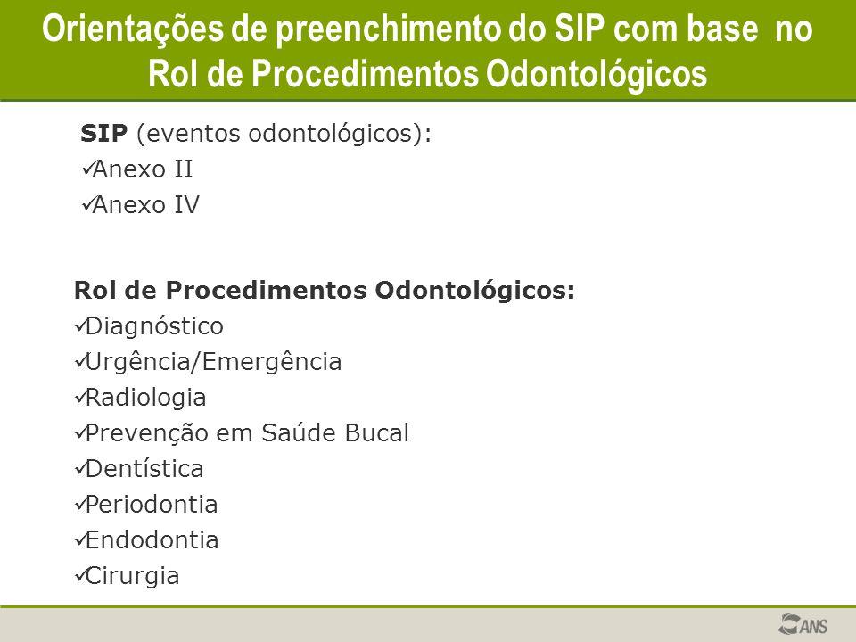 Orientações de preenchimento do SIP com base no Rol de Procedimentos Odontológicos SIP (eventos odontológicos): Anexo II Anexo IV Rol de Procedimentos