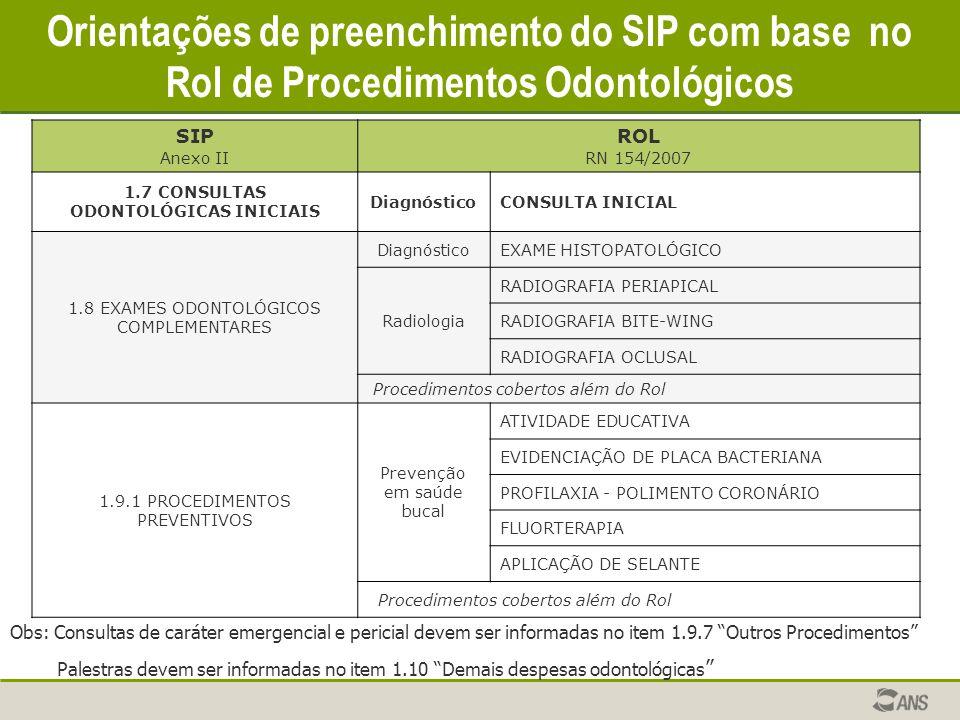 SIP Anexo II ROL RN 154/2007 1.7 CONSULTAS ODONTOLÓGICAS INICIAIS DiagnósticoCONSULTA INICIAL 1.8 EXAMES ODONTOLÓGICOS COMPLEMENTARES DiagnósticoEXAME