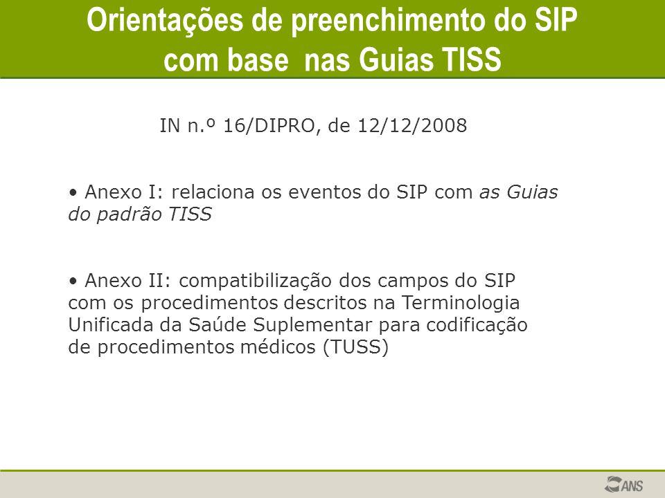 Orientações de preenchimento do SIP com base nas Guias TISS IN n.º 16/DIPRO, de 12/12/2008 Anexo I: relaciona os eventos do SIP com as Guias do padrão