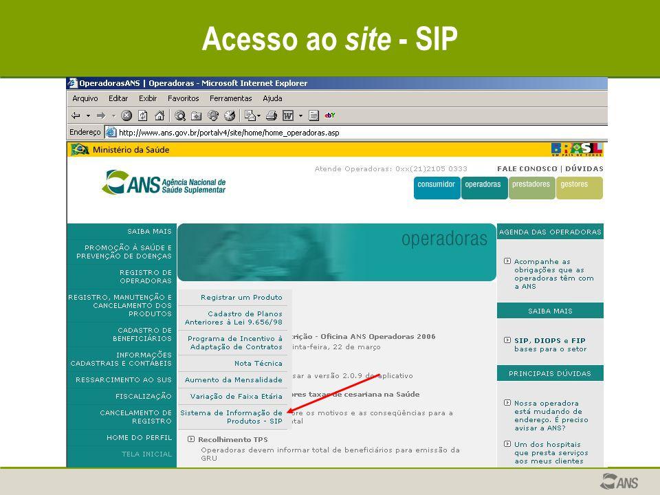 Acesso ao site - SIP