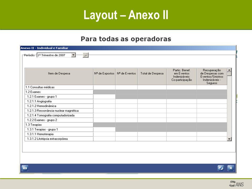 Layout – Anexo II Para todas as operadoras