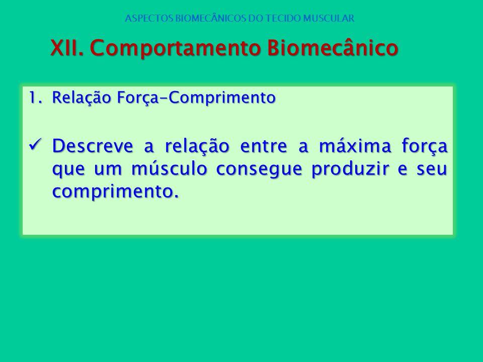 1.Relação Força-Comprimento Descreve a relação entre a máxima força que um músculo consegue produzir e seu comprimento. Descreve a relação entre a máx