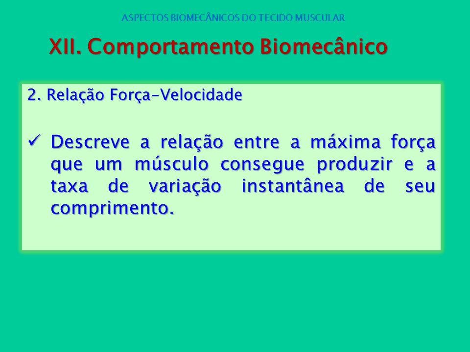 2. Relação Força-Velocidade Descreve a relação entre a máxima força que um músculo consegue produzir e a taxa de variação instantânea de seu comprimen