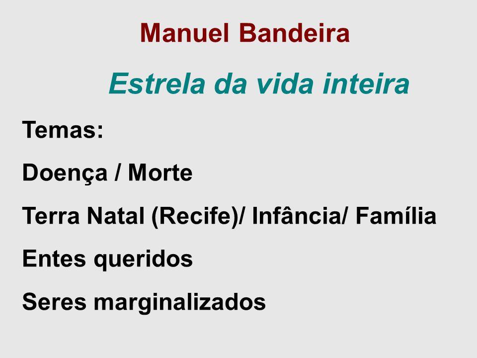 Manuel Bandeira Estrela da vida inteira Temas: Doença / Morte Terra Natal (Recife)/ Infância/ Família Entes queridos Seres marginalizados