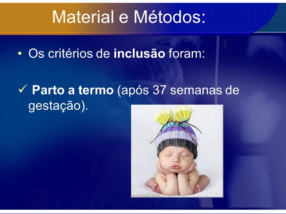 Material e Métodos: Os critérios de inclusão foram: Parto a termo (após 37 semanas de gestação).
