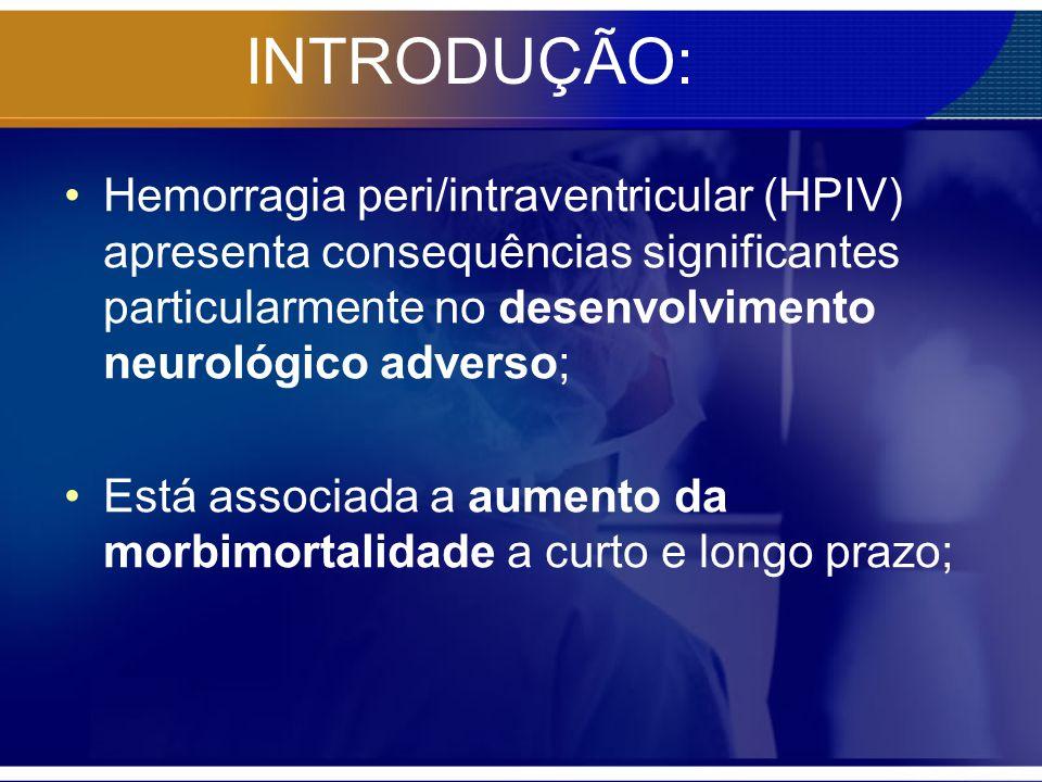 INTRODUÇÃO: Hemorragia peri/intraventricular (HPIV) apresenta consequências significantes particularmente no desenvolvimento neurológico adverso; Está