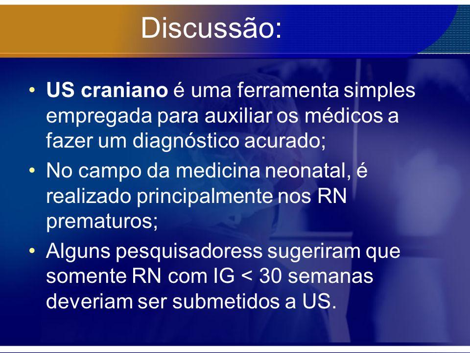 Discussão: US craniano é uma ferramenta simples empregada para auxiliar os médicos a fazer um diagnóstico acurado; No campo da medicina neonatal, é re