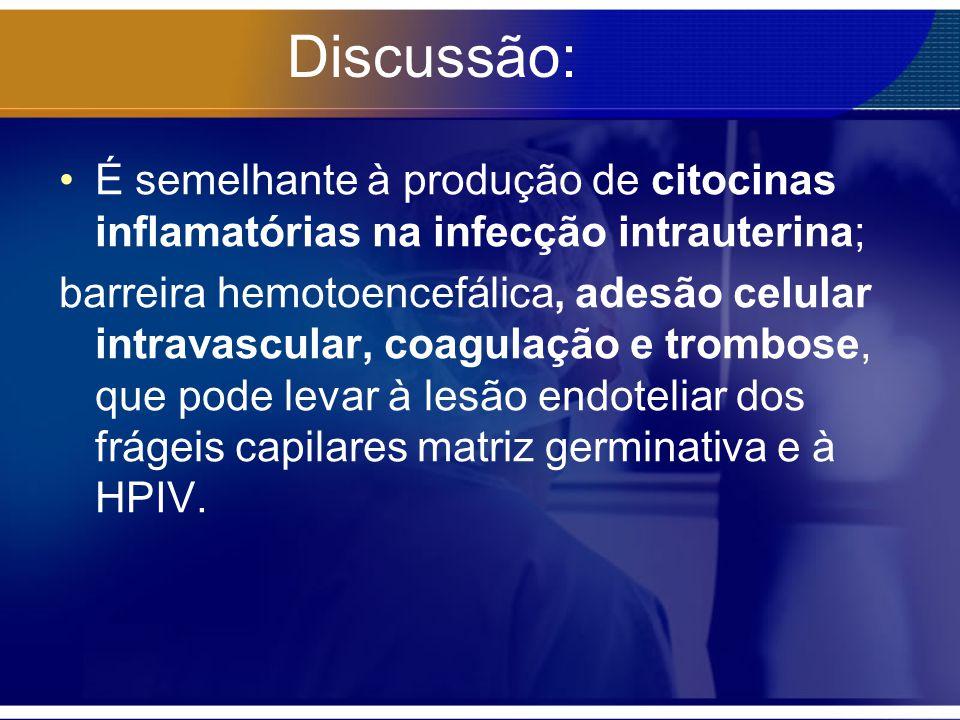 Discussão: É semelhante à produção de citocinas inflamatórias na infecção intrauterina; barreira hemotoencefálica, adesão celular intravascular, coagu