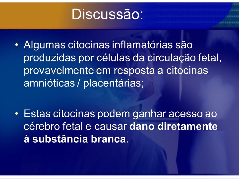 Discussão: Algumas citocinas inflamatórias são produzidas por células da circulação fetal, provavelmente em resposta a citocinas amnióticas / placentá