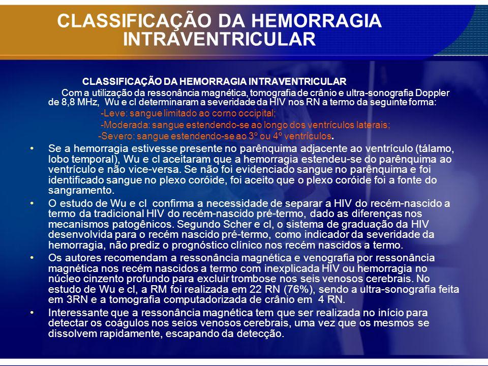 CLASSIFICAÇÃO DA HEMORRAGIA INTRAVENTRICULAR Com a utilização da ressonância magnética, tomografia de crânio e ultra-sonografia Doppler de 8,8 MHz, Wu