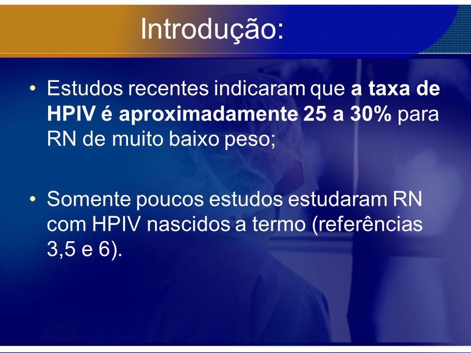 Introdução: Estudos recentes indicaram que a taxa de HPIV é aproximadamente 25 a 30% para RN de muito baixo peso; Somente poucos estudos estudaram RN