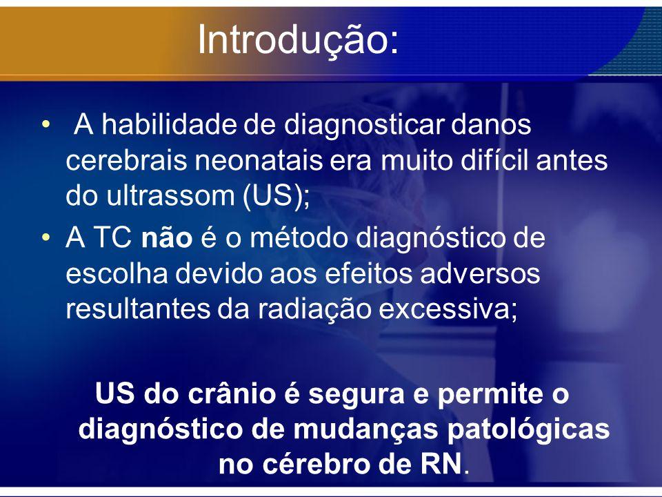 Introdução: A habilidade de diagnosticar danos cerebrais neonatais era muito difícil antes do ultrassom (US); A TC não é o método diagnóstico de escol