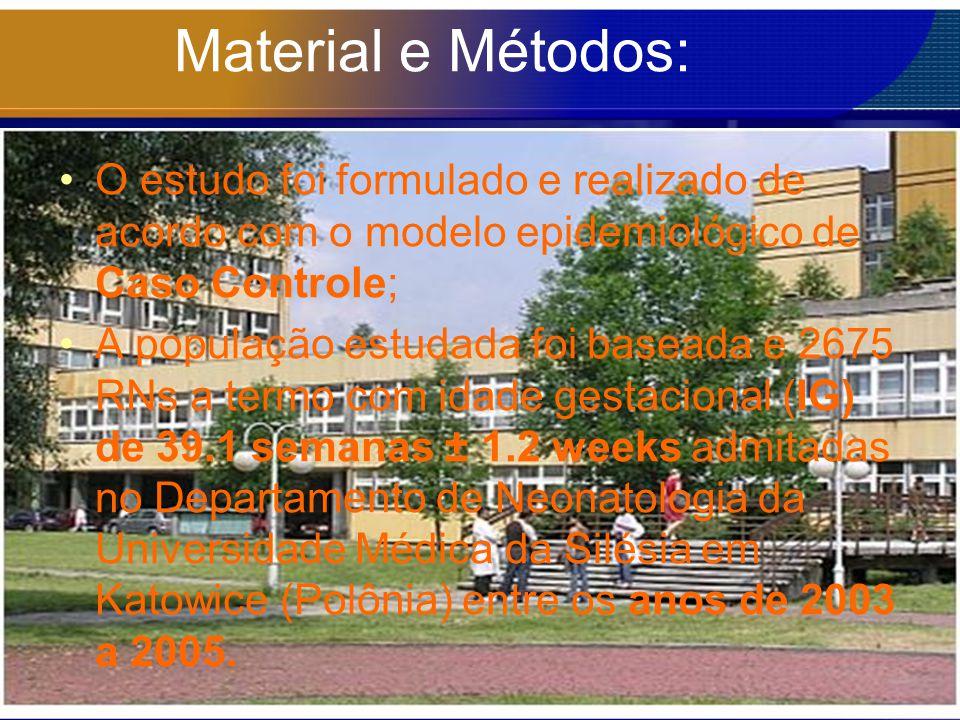 Material e Métodos: O estudo foi formulado e realizado de acordo com o modelo epidemiológico de Caso Controle; A população estudada foi baseada e 2675