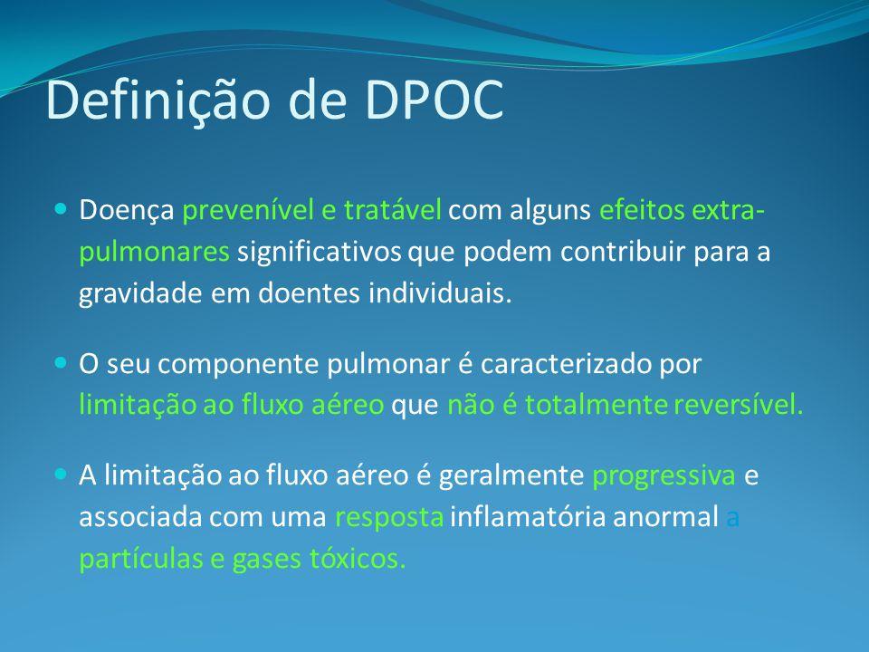 Definição de DPOC Doença prevenível e tratável com alguns efeitos extra- pulmonares significativos que podem contribuir para a gravidade em doentes individuais.