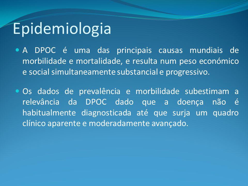 Epidemiologia A DPOC é uma das principais causas mundiais de morbilidade e mortalidade, e resulta num peso económico e social simultaneamente substancial e progressivo.