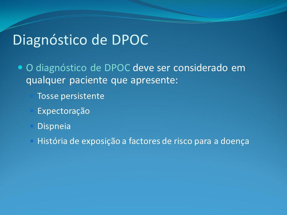 Diagnóstico de DPOC O diagnóstico de DPOC deve ser considerado em qualquer paciente que apresente: Tosse persistente Expectoração Dispneia História de exposição a factores de risco para a doença