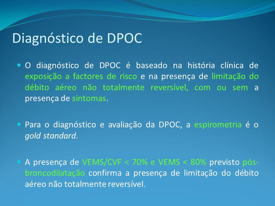 O diagnóstico de DPOC é baseado na história clínica de exposição a factores de risco e na presença de limitação do débito aéreo não totalmente reversível, com ou sem a presença de sintomas.