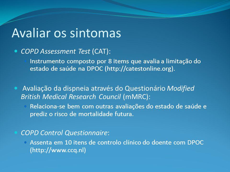 Avaliar os sintomas COPD Assessment Test (CAT): Instrumento composto por 8 items que avalia a limitação do estado de saúde na DPOC (http://catestonline.org).