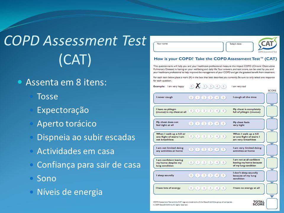 Assenta em 8 itens: Tosse Expectoração Aperto torácico Dispneia ao subir escadas Actividades em casa Confiança para sair de casa Sono Níveis de energia COPD Assessment Test (CAT)