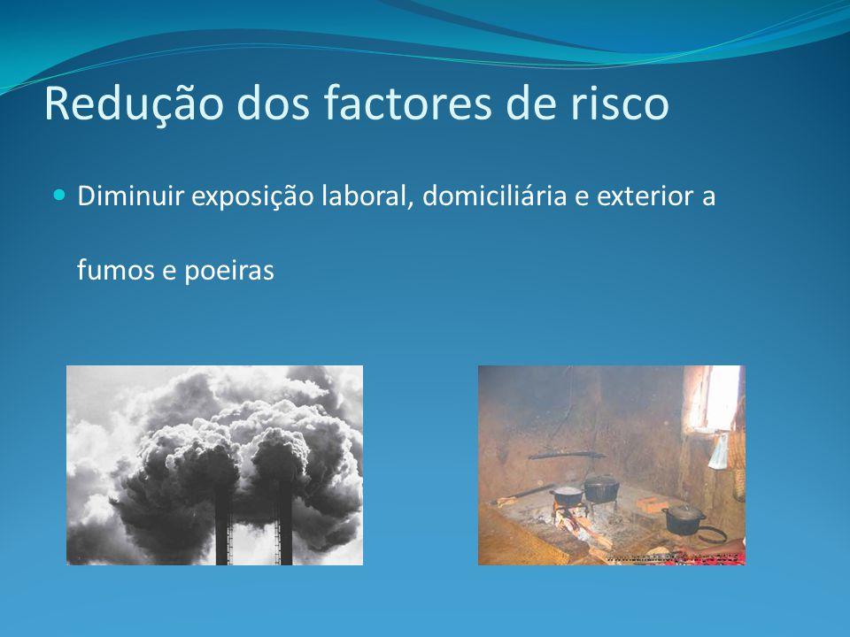 Diminuir exposição laboral, domiciliária e exterior a fumos e poeiras Redução dos factores de risco